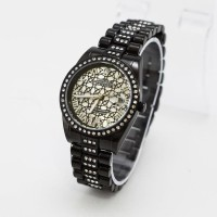 Jam Tangan Wanita / Cewe Rolex Madu Full Hitam