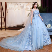 Gaun Pengantin Warna Biru Kualitas Tinggi