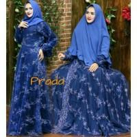 Dress Gaun Pesta Lebaran Baju Gamis Wanita Muslim Warna Navy