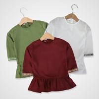 KicauKecil - Hana Top Baju Tunik Anak model peplum 1-8T Putih,Maroon,