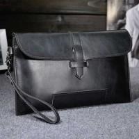 Tas Genggam Kulit Leather Clutch Bag Hitam