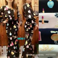 maxi dress duyung mermaid chanel lipstik m361 fit to XL bahan crepe