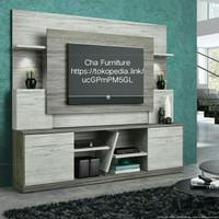Backdrop + meja TV minimalis / Backdrop tv elegan / rak TV HPL custom