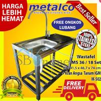 Paket Wastafel Bak Cuci Piring Metalco MS 36-18 Set& Kran Angsa Tanam