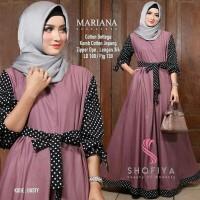 Harga model baru baju kekinian muslim wanita mariana dress polka pakaian   Pembandingharga.com