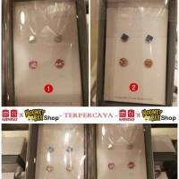Japan Quality - 4pc Anting Silver925 ASLI SWAROVSKI MINISO bulat kotak