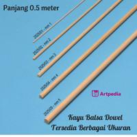 Kayu Balsa Dowel 4mm Panjang 0.5 Meter / Balsa Dowle Ukuran 4mm