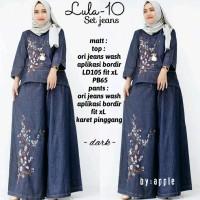 baju perempuan setelan jeans dress gamis jumbo kain katun maxi dress