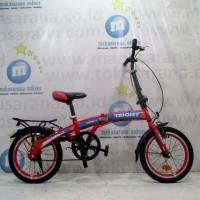 Sepeda Lipat Triojet 1.0 8 Tahun-Dewasa 16in Steel 1Sp V-Brake