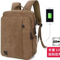 Jual Tas Ransel Kanvas USB Extender Laptop Backpack Canvas 782 (WYK13) Murah