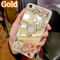 Case Casing HP OPPO Case F5 Youth Plus Mirror Luxury Flower Diamond N