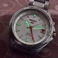 JAM TANGAN SEIKO AGS GMT SPIRIT TITANIUM KINETIC ORIGINAL (READY)