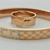 Gelang Dan Cincin Wanita Gucci Embosed Premium