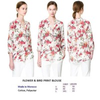 FLOWER & BIRD PRINT BLOUSE. Made in Morocco - FACTORY OUTLET BRANDED