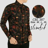 Jual Baju Batik Pria Slim Fit Modern Lengan Panjang D198 Murah
