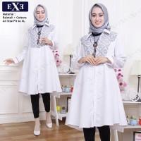 Baju Muslim Gamis Tunic Wanita eXe All Size - Putih Kombinasi Batik
