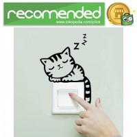 Sticker Wallpaper Dinding Sleeping Cat - Hitam
