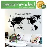 Sticker Wallpaper Dinding World Map - Hitam