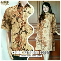 Batik Couple Kembang Sogan Tunik Kebaya Modern Seragaman Tanah Abang