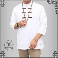 Pakain Muslim Pria Baju Koko Baju koko pria model kancing cina putih