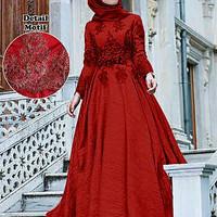 Baju Busana Muslim Wanita Gamis Pesta Terbaru CKR Maxi Arabia Merah