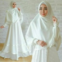 Anggun Syari White Gamis Busui Syari Warna Putih Busana Muslim