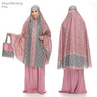 Premium mukena katun jepang mega mendung warna merah muda adem jatuh