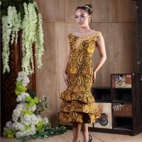 Baju Wanita Dress Batik Modern Baju Pesta Batik Katun Kombinasi Brokat