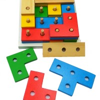 Mainan Kayu Anak Edukasi / Edukatif - Tetris 4 Susun