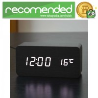 Jam Alarm LED Wood - Hitam Putih