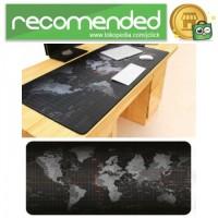 Gaming Mouse Pad Desk Mat Motif Peta Dunia - Hitam - 300 x 800 mm