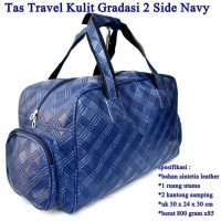Tas Travel 2 Side Pocket Kulit GRADASI NAVY
