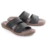Sandal pria kulit model flat hitam coklat sendal orang tua anak muda