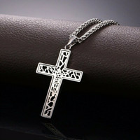Kalung Stainless Cross Art 3.5x6cm plus Rantai