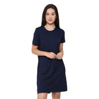 LEMONE T-shirt Kaos Cewe Spandek Premium Dress Wanita 710P105786 Navy