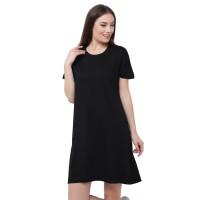 LEMONE T-shirt Kaos Cewe Spandek Premium Dress Wanita 710P105785 Hitam