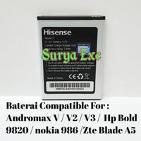 Baterai Zte Blade A5 / Andromax V V2 V3 / HP Bold V9820 / Nokia 986 O