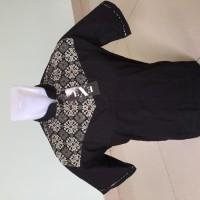 Kemeja / Baju Koko Muslim Pria Exe - Putih & Hitam Kombinasi Batik -
