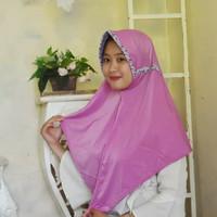 Hijab Instan Terbaru/Jilbab Remaja Sumita Ungu Mix Bunga Real Pic