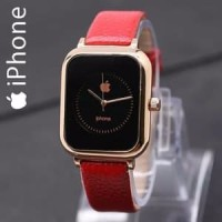 SALE JAM TANGAN WANITA APPLE IPHONE LEATHER RED GOLD ASLI