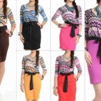 Sale Midi Dress Retro + Plus Belt - Baju Wanita Murah