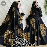 Maxi Satin Mawar / Gamis / Dress / Polos / Bunga / Hitam / Biru / XL