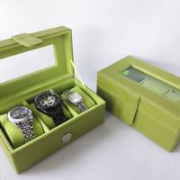 Tempat jam tangan isi 3 hijau/kotak arloji/watch box kualitas premium