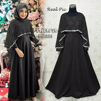 Baju Busana Muslimah Gamis Syari Gaun Pesta Dress Maxi Thiara Black