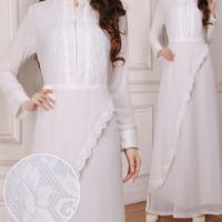 Baju Gamis Wanita Jumbo / Gamis Brukat / Syari Putih Untk Umroh & Haji