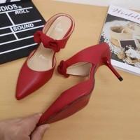 Jual Sandal Sepatu High Heels Wanita Paris Pita Merah Murah Murah