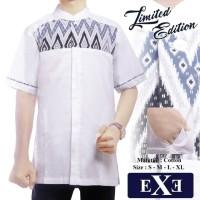 Promo Kemeja Baju Koko Muslim Pria eXe Putih Kombinasi Batik