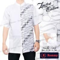 Promo Kemeja Baju Koko Muslim Pria Rommy Putih Kombinasi Batik 1 2