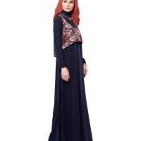 Fashion Muslim Gamis Dress Megan Navy Mezora
