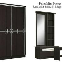 Paket Mini Hemat(Lemari Pakaian 3 Pintu dan Meja Rias)